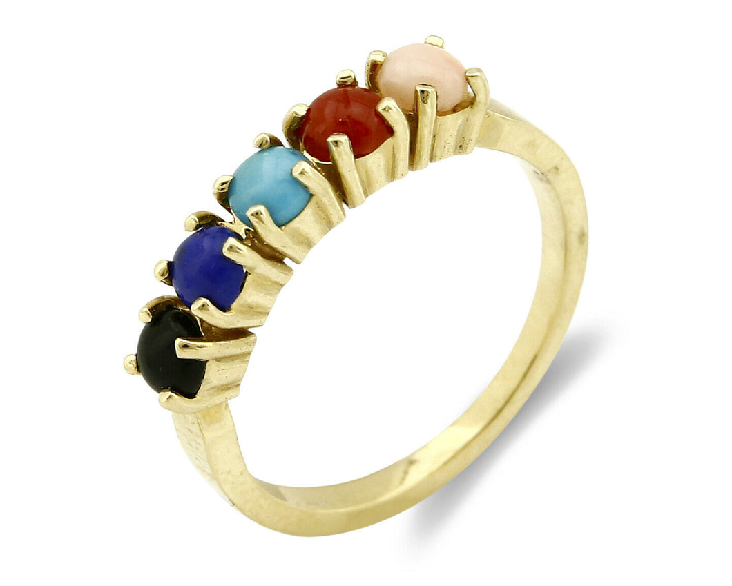 Women's Natural Gemstone RH & Co Ring 5 Stone 14k SOLID Yellow Gold