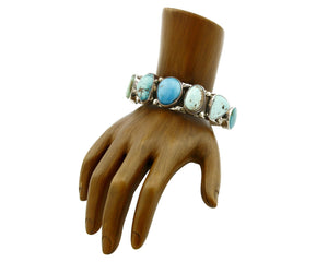 Women's Navajo Natural Mined Turquoise Bracelet .925 Silver Handmade C.80's