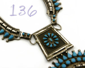 Women's Navajo Necklace .925 Silver Natural Mined Turquoise Handmade Old Pawn