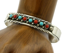 Navajo Bracelet .925 SOLID Silver Turquoise & Coral Signed M.J. C.80's