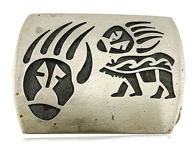 Women's Hopi Belt Buckle .925 Silver Hand Stamped Handmade Small Size C.80's
