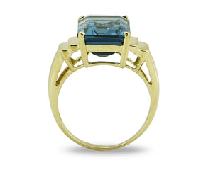 Women's Topaz Solitaire Ring 10k SOLID Yellow Gold Sizable 8.0