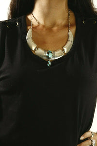 Women's Navajo Bisbee Turquoise Necklace .925 Silver Signed PL