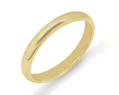 3.0 mm Wide Half Round Band in 14k SOLID Yellow Gold Ring