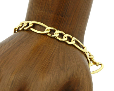 Real 10k Yellow Gold 7.0mm wide Figaro Bracelet 8.0 in Long
