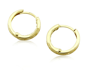 Women's 3.0 mm x 14 mm REAL 14k SOLID YELLOW GOLD Simulated Diamond Hoop Earring