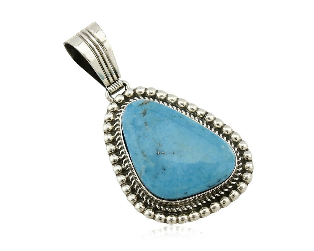 Navajo Pendant .925 Silver Kingman Turquoise Signed Artist LT Begay C.80's
