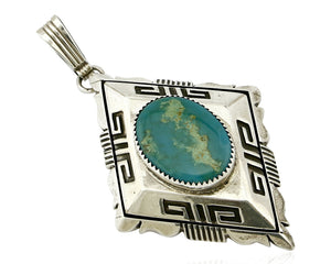 Navajo William Denetdale Pendant Natural Turquoise .925 Silver C.80's