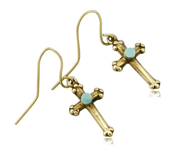 Navajo Turquoise Earrings 14k SOLID Yellow Gold Cross Dangle