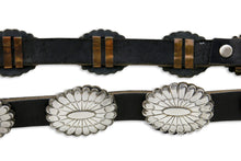 Amazing Navajo Indian Hand Stamped .925 Silver Leather Black Concho Belt
