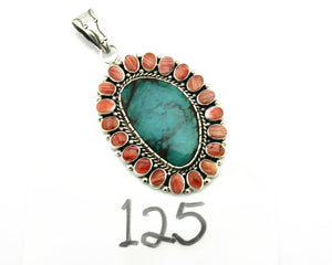Navajo Pendant .925 Silver Natural Turquoise & Oyster Signed Artist BP C.80's