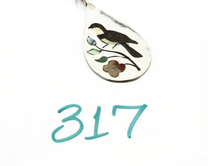 C.80-90's Navajo Henry & Linda BARBER .925 Silver Inlaid Sparrow Bird Necklace