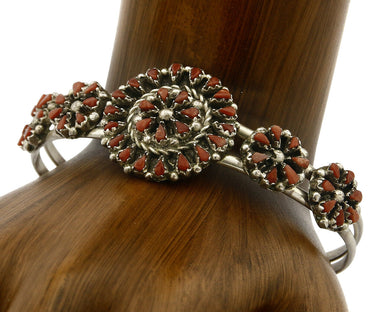 Zuni Bracelet .925 Silver Red Coral Petit Point American Indian Cuff C.80