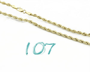 Women's 3.0mm Wide Rope Chain in 10k Real Yellow Gold 18in Long