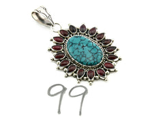 Navajo Pendant .925 Silver Natural Turquoise & Garnet Signed Artist BP C.80's