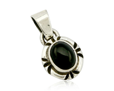 Navajo Hand Stamped Natural Mined Black Onyx in .925 SOLID Silver Pendant