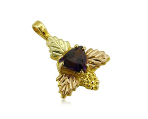 Women's Black Hills Gold Amethyst .50 TCW 10 & 12k SOLID Gold Pendant
