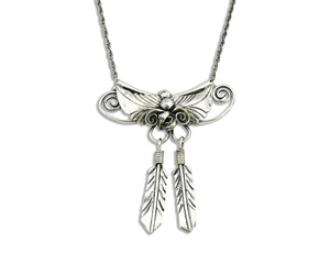 Navajo Handmade Feather Necklace .925 Silver 18 in. Long