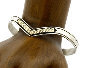 Navajo Bracelet .925 Silver & 14k Solid Gold MM Rogers and TAS Cuff C.80's