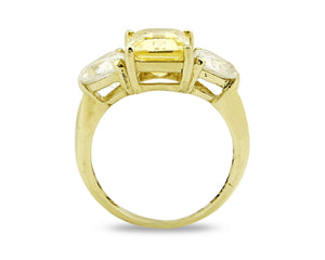 Women's 4.0 tcw Canary Simulated Diamond 3 Stone 14k SOLID Gold Ring