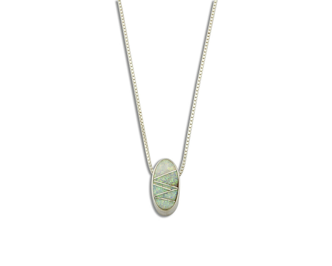 Women's Opal Inlaid Necklace .925 Silver Oval Signed Pendant