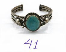 Women's Navajo Cuff .925 Silver Handmade Stamped Turquoise Bracelet C.50's