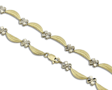 Women's 10k Gold SOLID White & Yellow Gold Flower Necklace 17 in 5.5mm