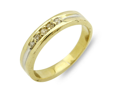 Simulated Diamond .13 tcw SOLID 14k Yellow Gold Size 7.0 Band Ring