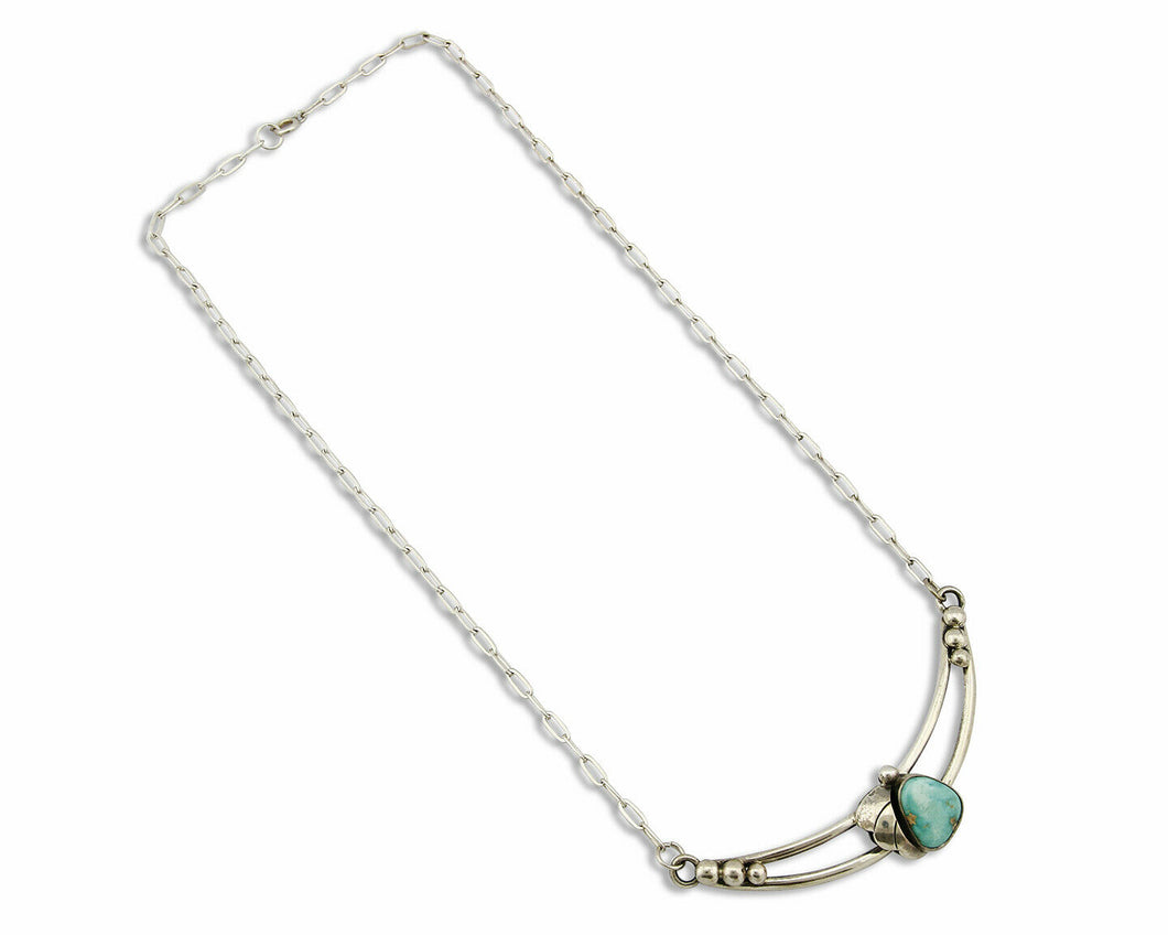 C. 1980-90's Navajo .925 SOLID Silver Natural Turquoise Necklace