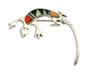 Navajo Lizard Brooch Pin 925 Sterling Silver Multi Stone Inlay Wilbur Muskett Jr