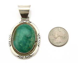 Navajo Pendant .925 Silver Green Turquoise Signed Artist EN C.80's