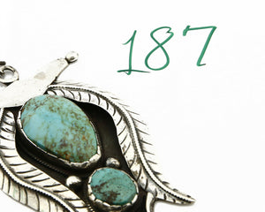 Old Pawn Navajo George Jones Natural Mined Turquoise .925 Silver Cuff