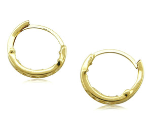 Women's 3.0mm x 16mm REAL 14k SOLID YELLOW GOLD Simulated Diamond Hoop