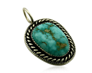 Navajo Pendant .925 Silver Kingman Turquoise Signed Artist Yazzie C.80's