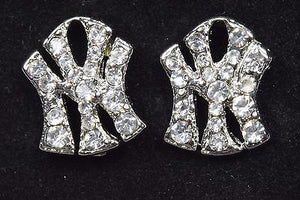 New 14k White Gold Plated CZ Pave Stud Earrings