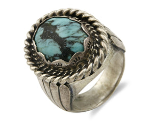 Navajo Kingman Turquoise Ring .925 Silver Artist Signed Arrows & Teepee C.80's