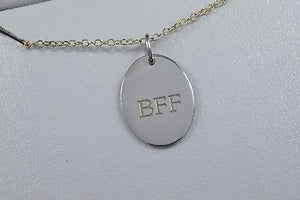 BFF Best Friends Fovever Oval Pendant with 18 In Chain Both .925 Silver Necklace