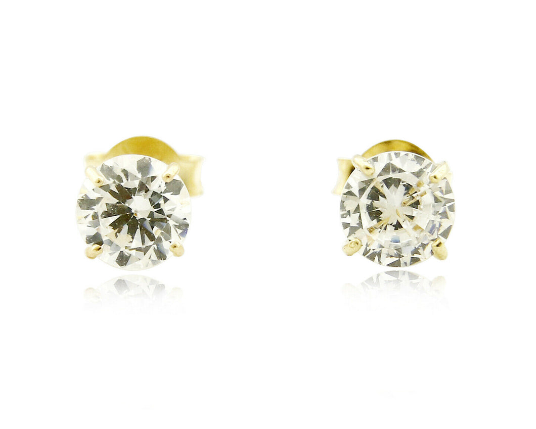 Round 4.0mm Wide CZ Stud Four Prong Basket Earrings Real 14k SOLID Yellow Gold