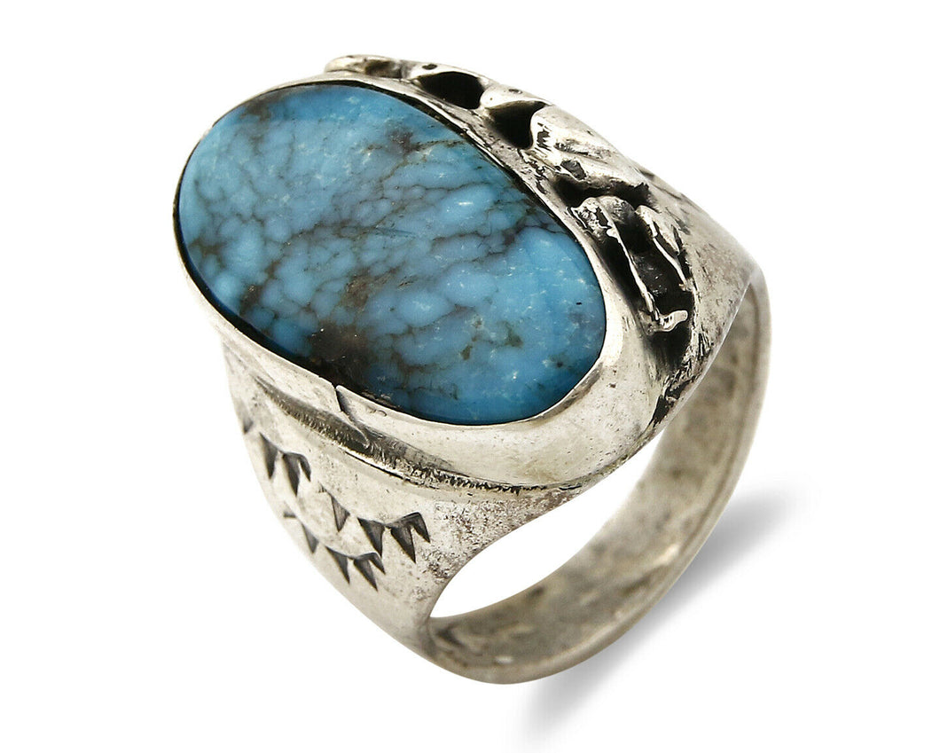 Navajo Kingman Turquoise Ring .925 Silver Artist Native American Indian C.80's