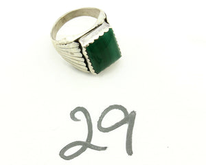 Navajo Ring .925 Silver Natural Malachite Signed Artist DL Native American C.80s