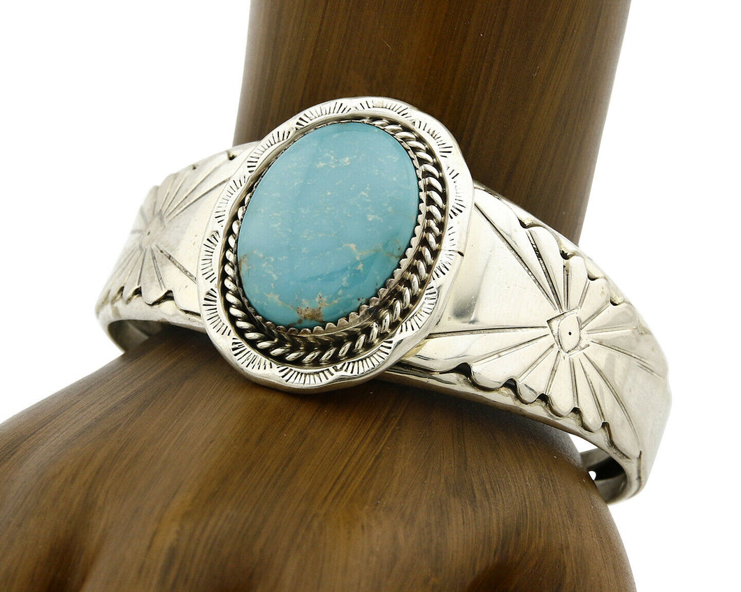 Navajo Bracelet .925 Silver Handmade Overlay Pattern Cuff Signed C.80's