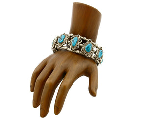 Women's Old Pawn Bracelet Handmade .925 Silver Natural Turquoise Cuff C.70s-80s
