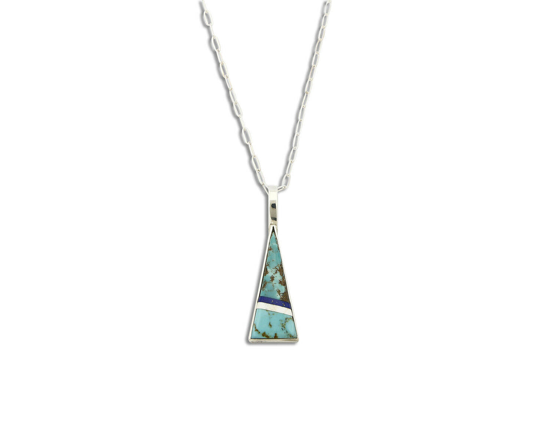 Women's Inlaid Pendant .925 Silver Turquoise & Gemstone Necklace