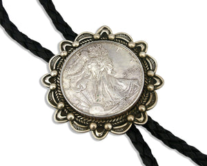 Navajo Peace Dollar Bolo Tie .925 Silver Turquoise Artist Signed G. Nelson C.80s