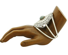 Women's Navajo Cuff .925 Silver Hand Stamped Turquoise Bracelet