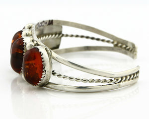 Navajo Bracelet .925 SOLID Silver Natural Amber Signed Benson Boyd C.80's Cuff