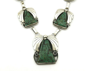 Women's Navajo Necklace .925 Silver Crescent Valley Turquoise Handmade 23 in