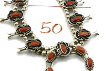 Woman's Navajo Squash Necklace .925 Silver Red Coral C.80's