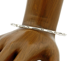 Women's Navajo Bracelet .925 Silver Hand Stamped 3.0 mm Wide