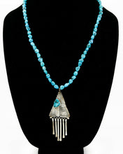 C. 1980's Navajo Signed Melvin Thompson .925 Silver Turquoise Necklace